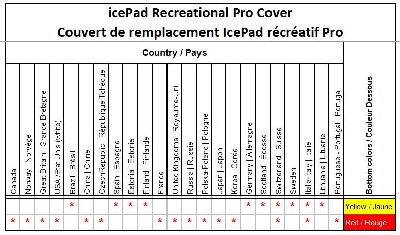 Icepad recreational Pro cover country and color options